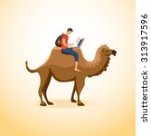a man travels on a camel with a ... | Shutterstock .eps vector #313917596