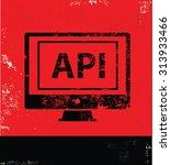 api design on red background ...