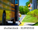 young boy  kid getting on the...   Shutterstock . vector #313935533