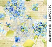 watercolor blue hydrangea....   Shutterstock . vector #313937750