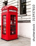 Single Red Telephone Booth In...