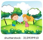 boy and girl in the park at...   Shutterstock .eps vector #313939910