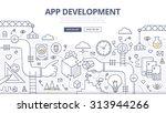 doodle design concept of mobile ... | Shutterstock .eps vector #313944266