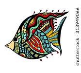 zentangle stylized fish. hand... | Shutterstock .eps vector #313949066