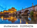 Rome Italy  Night City Skyline...