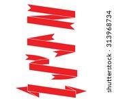 red ribbons  label banner... | Shutterstock .eps vector #313968734
