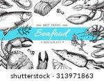 vector vintage seafood... | Shutterstock .eps vector #313971863