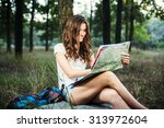 young caucasian female with... | Shutterstock . vector #313972604