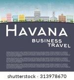 havana skyline with color...   Shutterstock . vector #313978670