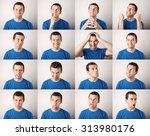 mosaic of young man expressing... | Shutterstock . vector #313980176