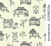 set of hand drawn houses.... | Shutterstock .eps vector #313982336