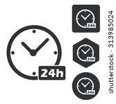 24 hours icon set  monochrome ...