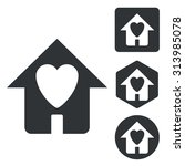 love house icon set  monochrome ...