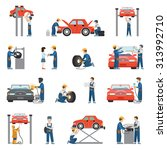 flat style car repair service... | Shutterstock .eps vector #313992710