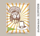 sketch thanksgiving turkey and... | Shutterstock .eps vector #313993508