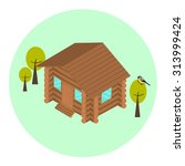 Wood Log Isometric House Icon...