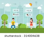 man and woman romantic chatting ... | Shutterstock .eps vector #314004638