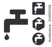 water tap icon set  monochrome  ...