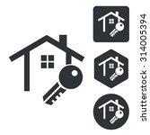 house key icon set  monochrome  ...