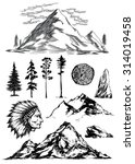 Hand Drawn Mountains Trees Roc...