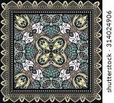 bandana print  silk neck scarf... | Shutterstock .eps vector #314024906