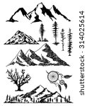 hand drawn mountains... | Shutterstock .eps vector #314025614