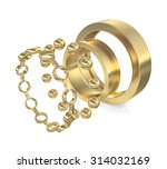 3d illustration golden ball... | Shutterstock . vector #314032169