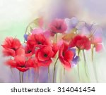 Watercolor Red Poppy Flowers...