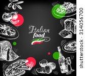 restaurant chalkboard italian... | Shutterstock .eps vector #314056700