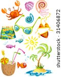 bunch of colorful sea holiday... | Shutterstock .eps vector #31406872