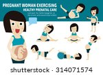 pregnant exercise. set of full... | Shutterstock .eps vector #314071574