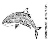 zentangle shark totem for adult ... | Shutterstock .eps vector #314076734
