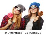 portrait of two young pretty... | Shutterstock . vector #314085878