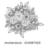 beautiful doodle art flowers.... | Shutterstock .eps vector #314087420