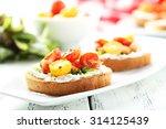 tasty fresh bruschetta with... | Shutterstock . vector #314125439