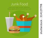lunch chicken bucket  burger... | Shutterstock .eps vector #314129798
