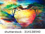 Painting Sunset  Sea And Tree ...