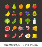 large set of colorful food... | Shutterstock .eps vector #314144036