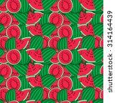 ripe watermelon seamless...   Shutterstock .eps vector #314164439
