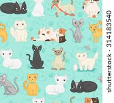 cute cat vector seamless pattern | Shutterstock .eps vector #314183540