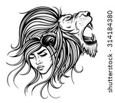 Vector Black And White Lion...