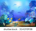 the underwater world with fish... | Shutterstock .eps vector #314193938