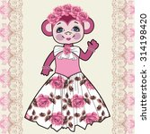 monkey shabby chic  flowers ... | Shutterstock .eps vector #314198420
