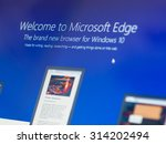 Small photo of Bangkok, Thailand - August 16, 2015; Welcome screen of Mirosoft Edge. The browser is bundle with new version of Windows. It starting July 29, 2015.