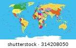 highly detailed political world ...   Shutterstock .eps vector #314208050