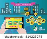 food delivery with mobile order ... | Shutterstock .eps vector #314225276