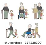 grandfather and family | Shutterstock .eps vector #314228300