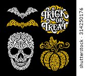 vector set of happy halloween... | Shutterstock .eps vector #314250176