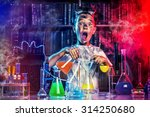 a boy doing experiments in the... | Shutterstock . vector #314250680
