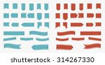 set of blue and red ribbons and ... | Shutterstock .eps vector #314267330